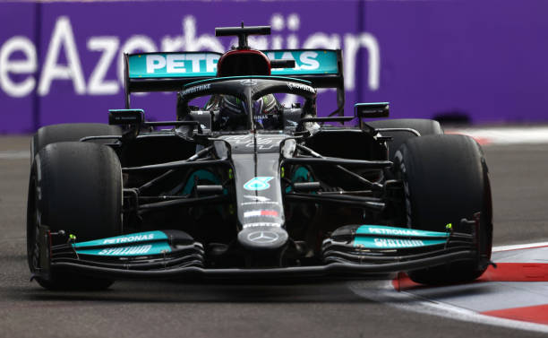 Lewis Hamilton of Great Britain driving the Mercedes AMG Petronas F1 Team Mercedes W12 on track during the F1 Grand Prix of Azerbaijan at Baku City...