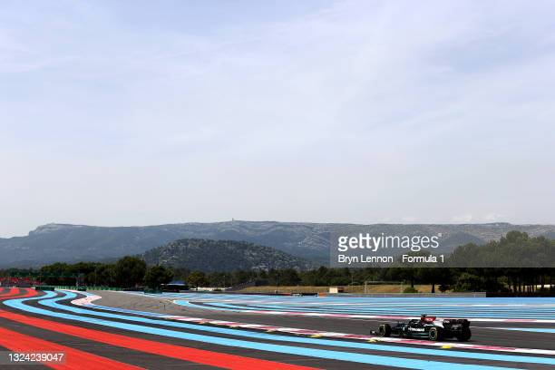 Lewis Hamilton of Great Britain driving the Mercedes AMG Petronas F1 Team Mercedes W12 on track during practice ahead of the F1 Grand Prix of France...