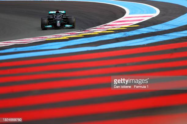 Lewis Hamilton of Great Britain driving the Mercedes AMG Petronas F1 Team Mercedes W12 on track during the F1 Grand Prix of France at Circuit Paul...