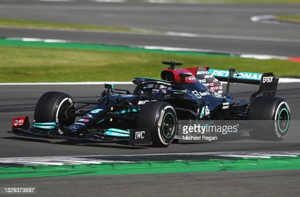 Lewis Hamilton of Great Britain driving the Mercedes AMG Petronas F1 Team Mercedes W12 during the F1 Grand Prix of Great Britain at Silverstone on...