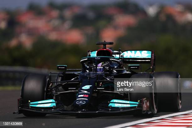 Lewis Hamilton of Great Britain driving the Mercedes AMG Petronas F1 Team Mercedes W12 during practice ahead of the F1 Grand Prix of Hungary at...