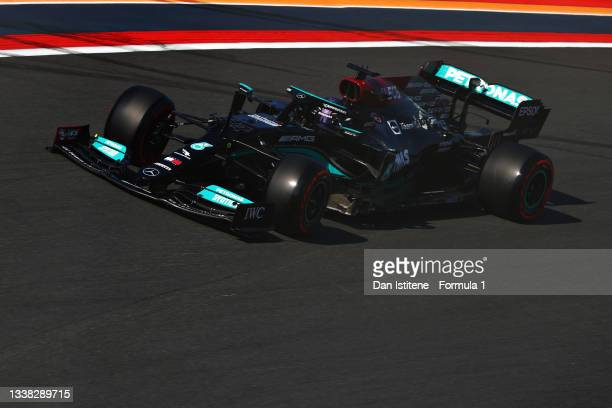 Lewis Hamilton of Great Britain driving the Mercedes AMG Petronas F1 Team Mercedes W12 during qualifying ahead of the F1 Grand Prix of The...