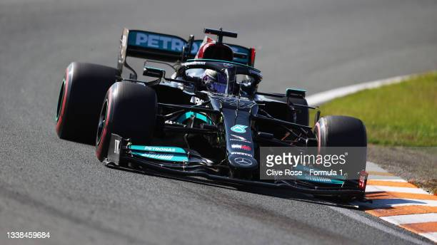 Lewis Hamilton of Great Britain driving the Mercedes AMG Petronas F1 Team Mercedes W12 during the F1 Grand Prix of The Netherlands at Circuit...