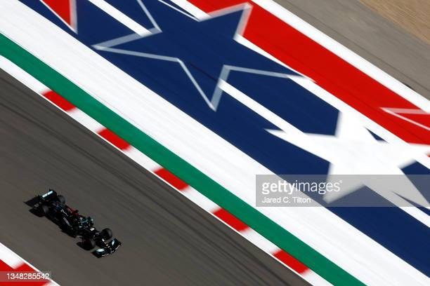 Lewis Hamilton of Great Britain driving the Mercedes AMG Petronas F1 Team Mercedes W12 during final practice ahead of the F1 Grand Prix of USA at...