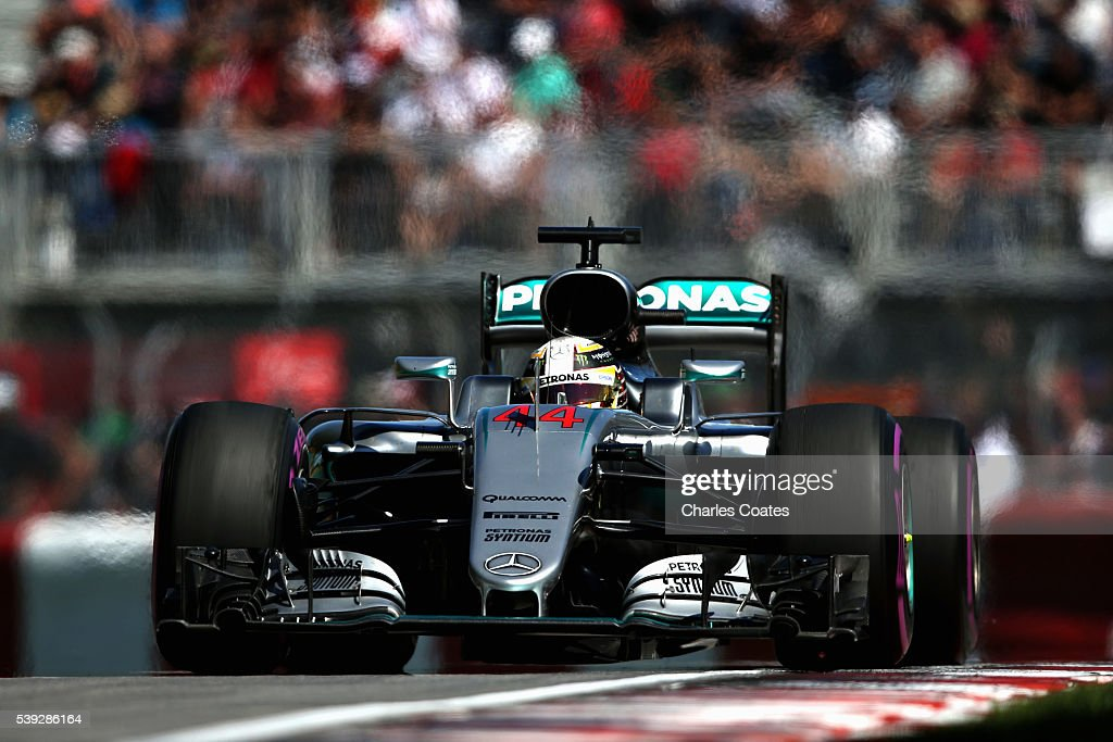 Lewis Hamilton of Great Britain driving the (44) Mercedes AMG Petronas F1 Team Mercedes F1 WO7 Mercedes PU106C Hybrid turbo on track during practice for the Canadian Formula One Grand Prix at Circuit Gilles Villeneuve on June 9, 2016 in Montreal, Canada.