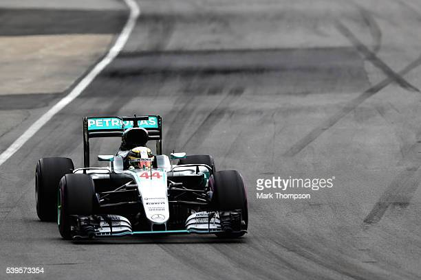 Lewis Hamilton of Great Britain driving the Mercedes AMG Petronas F1 Team Mercedes F1 WO7 Mercedes PU106C Hybrid turbo on track during the Canadian...
