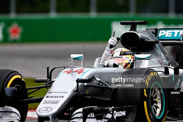 Lewis Hamilton of Great Britain driving the Mercedes AMG Petronas F1 Team Mercedes F1 WO7 Mercedes PU106C Hybrid turbo waves to the crowd after...