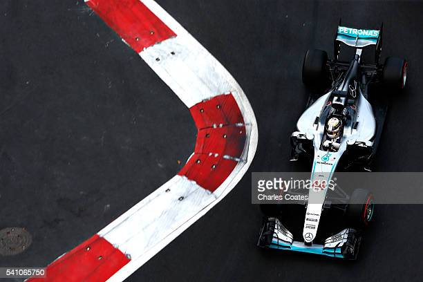 Lewis Hamilton of Great Britain driving the Mercedes AMG Petronas F1 Team Mercedes F1 WO7 Mercedes PU106C Hybrid turbo on track during qualifying for...