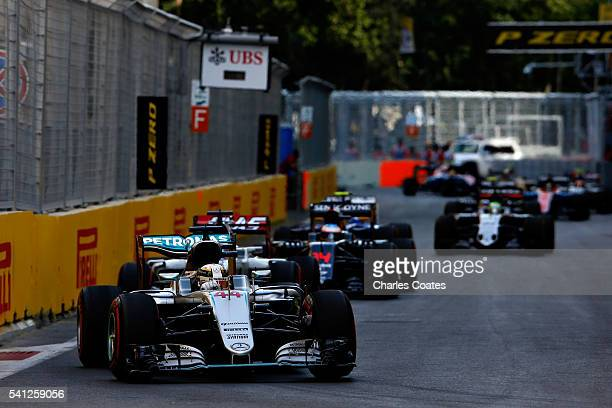 Lewis Hamilton of Great Britain driving the Mercedes AMG Petronas F1 Team Mercedes F1 WO7 Mercedes PU106C Hybrid turbo on track during the European...