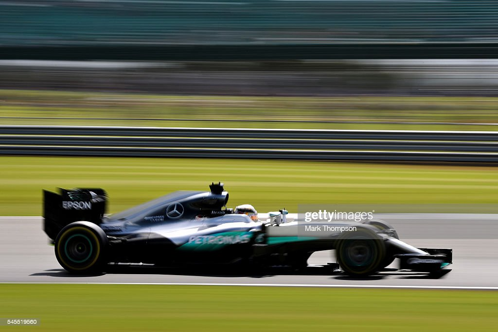 Lewis Hamilton of Great Britain driving the (44) Mercedes AMG Petronas F1 Team Mercedes F1 WO7 Mercedes PU106C Hybrid turbo on track during practice for the Formula One Grand Prix of Great Britain at Silverstone on July 8, 2016 in Northampton, England.