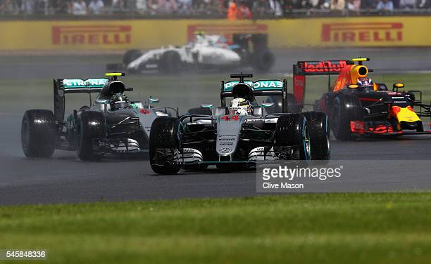 Lewis Hamilton of Great Britain driving the Mercedes AMG Petronas F1 Team Mercedes F1 WO7 Mercedes PU106C Hybrid turbo leads Nico Rosberg of Germany...