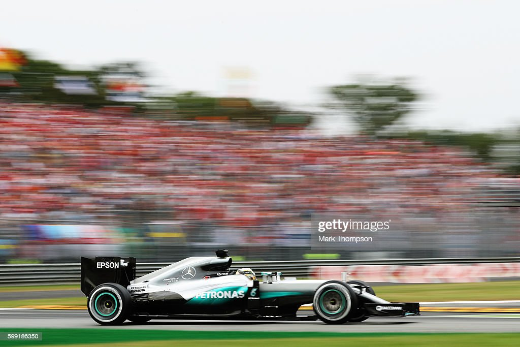 Lewis Hamilton of Great Britain driving the (44) Mercedes AMG Petronas F1 Team Mercedes F1 WO7 Mercedes PU106C Hybrid turbo on track during the Formula One Grand Prix of Italy at Autodromo di Monza on September 4, 2016 in Monza, Italy.