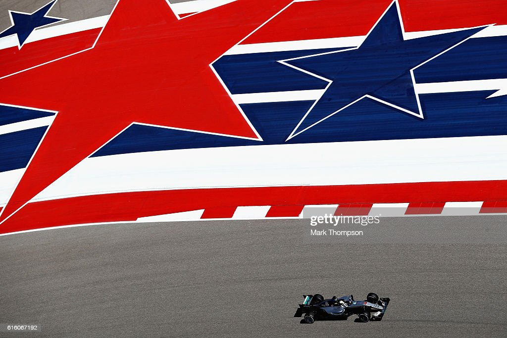 Lewis Hamilton of Great Britain driving the (44) Mercedes AMG Petronas F1 Team Mercedes F1 WO7 Mercedes PU106C Hybrid turbo on track during practice for the United States Formula One Grand Prix at Circuit of The Americas on October 21, 2016 in Austin, United States.