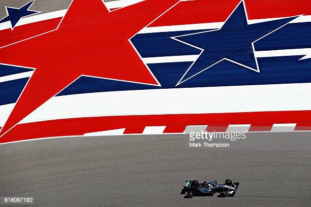 Lewis Hamilton of Great Britain driving the Mercedes AMG Petronas F1 Team Mercedes F1 WO7 Mercedes PU106C Hybrid turbo on track during practice for...