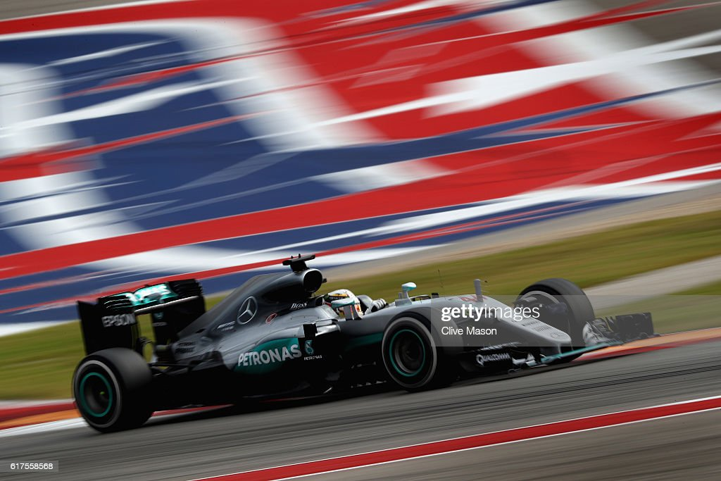 Lewis Hamilton of Great Britain driving the (44) Mercedes AMG Petronas F1 Team Mercedes F1 WO7 Mercedes PU106C Hybrid turbo on track during the United States Formula One Grand Prix at Circuit of The Americas on October 23, 2016 in Austin, United States.