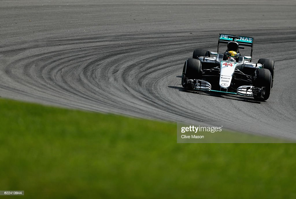 Lewis Hamilton of Great Britain driving the (44) Mercedes AMG Petronas F1 Team Mercedes F1 WO7 Mercedes PU106C Hybrid turbo on track during practice for the Formula One Grand Prix of Brazil at Autodromo Jose Carlos Pace on November 11, 2016 in Sao Paulo, Brazil.