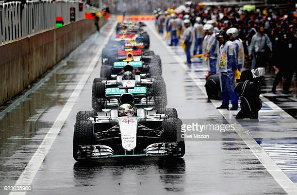 Lewis Hamilton of Great Britain driving the Mercedes AMG Petronas F1 Team Mercedes F1 WO7 Mercedes PU106C Hybrid turbo leads the entire field in the...