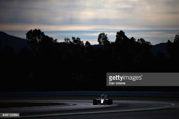 Lewis Hamilton of Great Britain driving the Mercedes AMG Petronas F1 Team Mercedes F1 WO8 on track during day two of Formula One winter testing at...