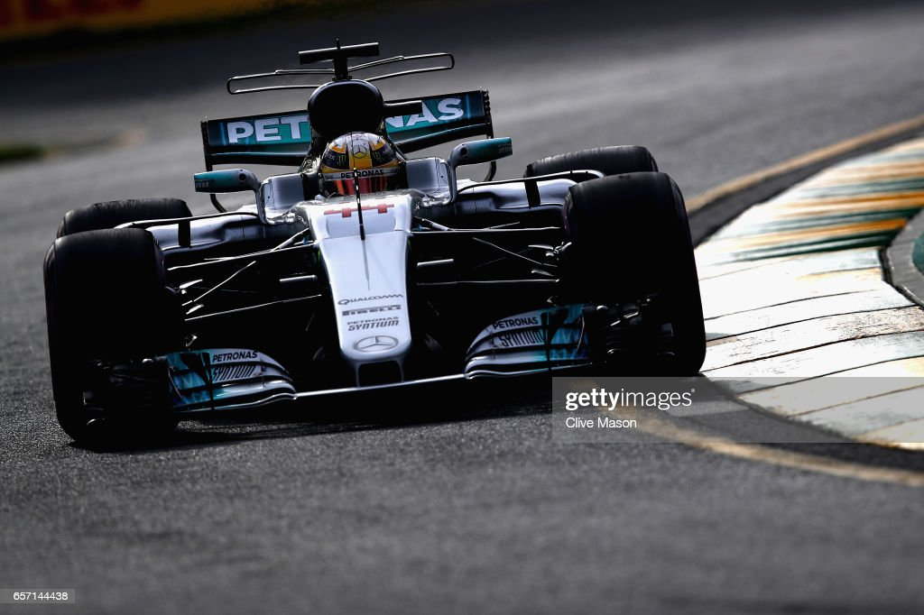Lewis Hamilton of Great Britain driving the (44) Mercedes AMG Petronas F1 Team Mercedes F1 WO8 on track during practice for the Australian Formula One Grand Prix at Albert Park on March 24, 2017 in Melbourne, Australia.