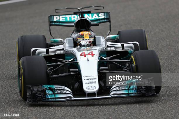 Lewis Hamilton of Great Britain driving the Mercedes AMG Petronas F1 Team Mercedes F1 WO8 on track during the Formula One Grand Prix of China at...