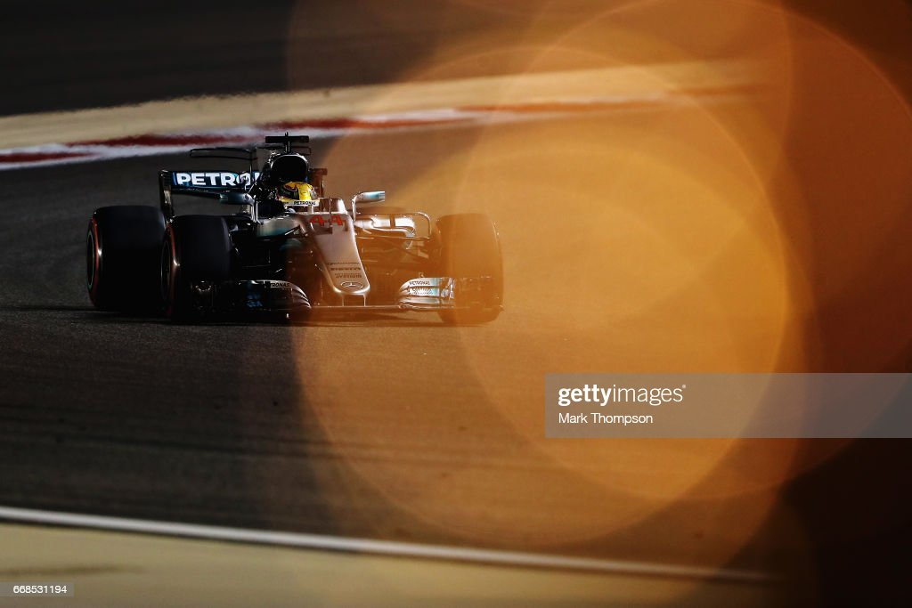 Lewis Hamilton of Great Britain driving the (44) Mercedes AMG Petronas F1 Team Mercedes F1 WO8 on track during practice for the Bahrain Formula One Grand Prix at Bahrain International Circuit on April 14, 2017 in Bahrain, Bahrain.