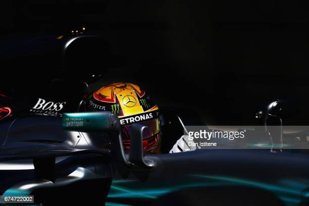 Lewis Hamilton of Great Britain driving the Mercedes AMG Petronas F1 Team Mercedes F1 WO8 during final practice for the Formula One Grand Prix of...
