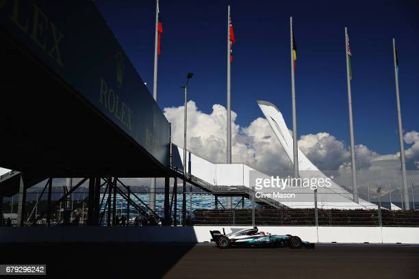 Lewis Hamilton of Great Britain driving the Mercedes AMG Petronas F1 Team Mercedes F1 WO8 on track during the Formula One Grand Prix of Russia on...