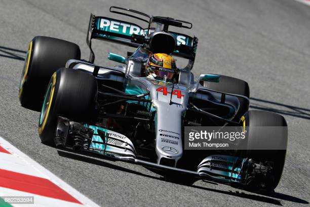 Lewis Hamilton of Great Britain driving the Mercedes AMG Petronas F1 Team Mercedes F1 WO8 on track during practice for the Spanish Formula One Grand...