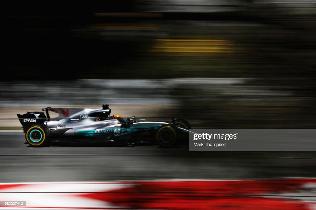 Lewis Hamilton of Great Britain driving the (44) Mercedes AMG Petronas F1 Team Mercedes F1 WO8 on track during practice for the Spanish Formula One Grand Prix at Circuit de Catalunya on May 12, 2017 in Montmelo, Spain.