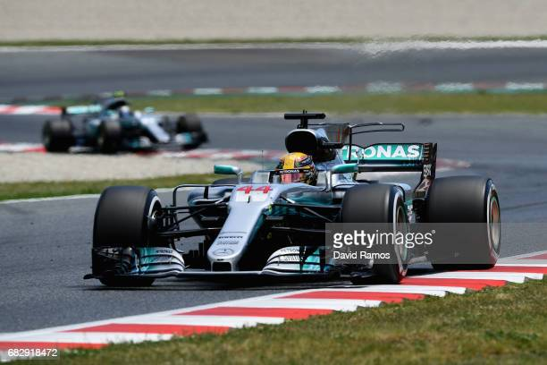 Lewis Hamilton of Great Britain driving the Mercedes AMG Petronas F1 Team Mercedes F1 WO8 on track during the Spanish Formula One Grand Prix at...