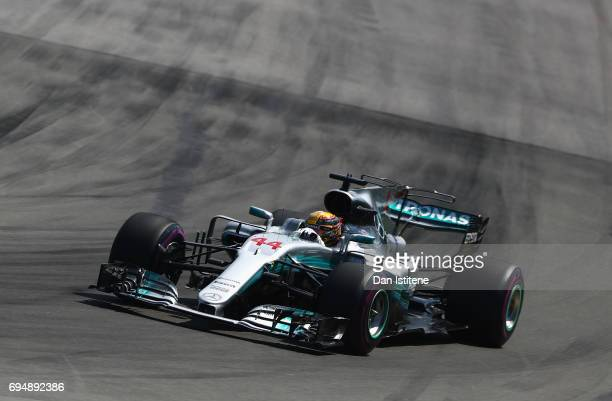 Lewis Hamilton of Great Britain driving the Mercedes AMG Petronas F1 Team Mercedes F1 WO8 during the Canadian Formula One Grand Prix at Circuit...