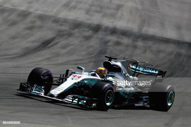 Lewis Hamilton of Great Britain driving the Mercedes AMG Petronas F1 Team Mercedes F1 WO8 on track during the Canadian Formula One Grand Prix at...