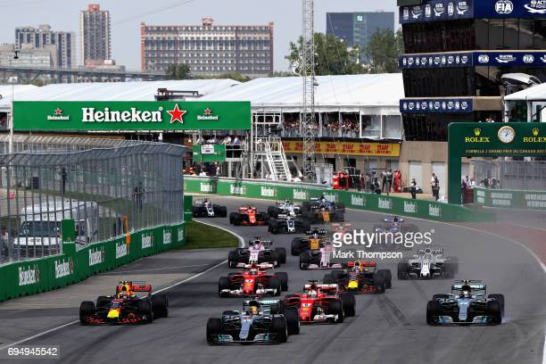 Lewis Hamilton of Great Britain driving the Mercedes AMG Petronas F1 Team Mercedes F1 WO8 leads Valtteri Bottas driving the Mercedes AMG Petronas F1...
