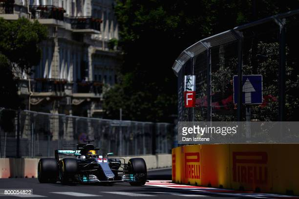 Lewis Hamilton of Great Britain driving the Mercedes AMG Petronas F1 Team Mercedes F1 WO8 on track during practice for the European Formula One Grand...