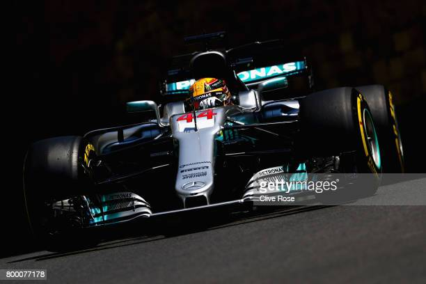 Lewis Hamilton of Great Britain driving the Mercedes AMG Petronas F1 Team Mercedes F1 WO8 on track during practice for the Azerbaijan Formula One...