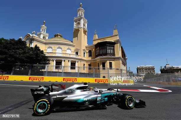 Lewis Hamilton of Great Britain driving the Mercedes AMG Petronas F1 Team Mercedes F1 WO8 on track during final practice for the Azerbaijan Formula...