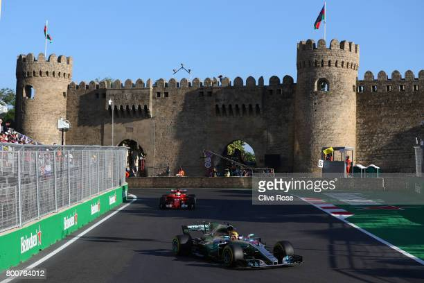 Lewis Hamilton of Great Britain driving the Mercedes AMG Petronas F1 Team Mercedes F1 WO8 on track during the Azerbaijan Formula One Grand Prix at...