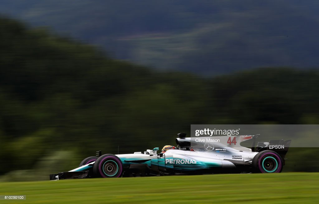 Lewis Hamilton of Great Britain driving the (44) Mercedes AMG Petronas F1 Team Mercedes F1 WO8 on track during practice for the Formula One Grand Prix of Austria at Red Bull Ring on July 7, 2017 in Spielberg, Austria.