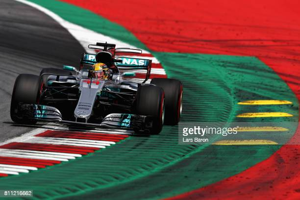 Lewis Hamilton of Great Britain driving the Mercedes AMG Petronas F1 Team Mercedes F1 WO8 on track during the Formula One Grand Prix of Austria at...
