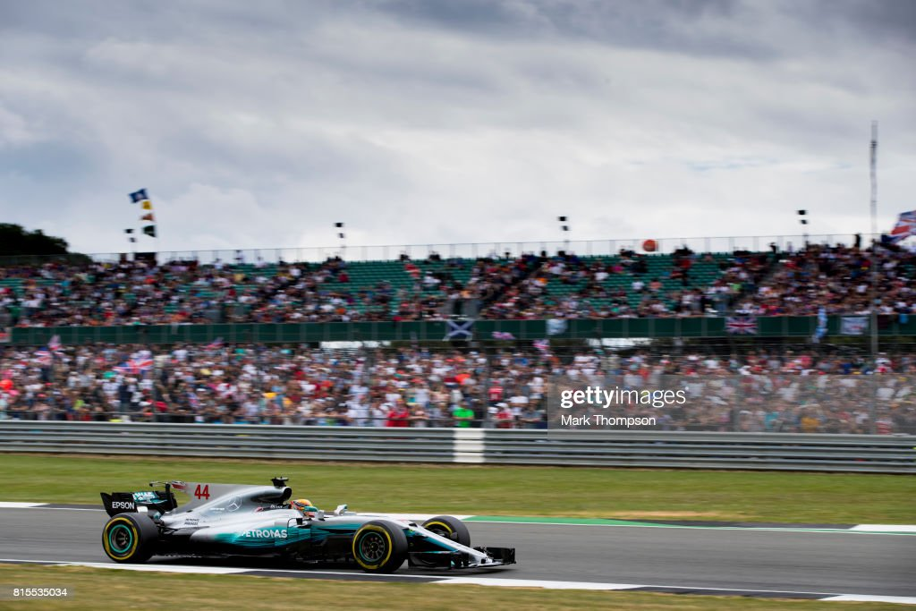 Lewis Hamilton of Great Britain driving the (44) Mercedes AMG Petronas F1 Team Mercedes F1 WO8 on track during the Formula One Grand Prix of Great Britain at Silverstone on July 16, 2017 in Northampton, England.