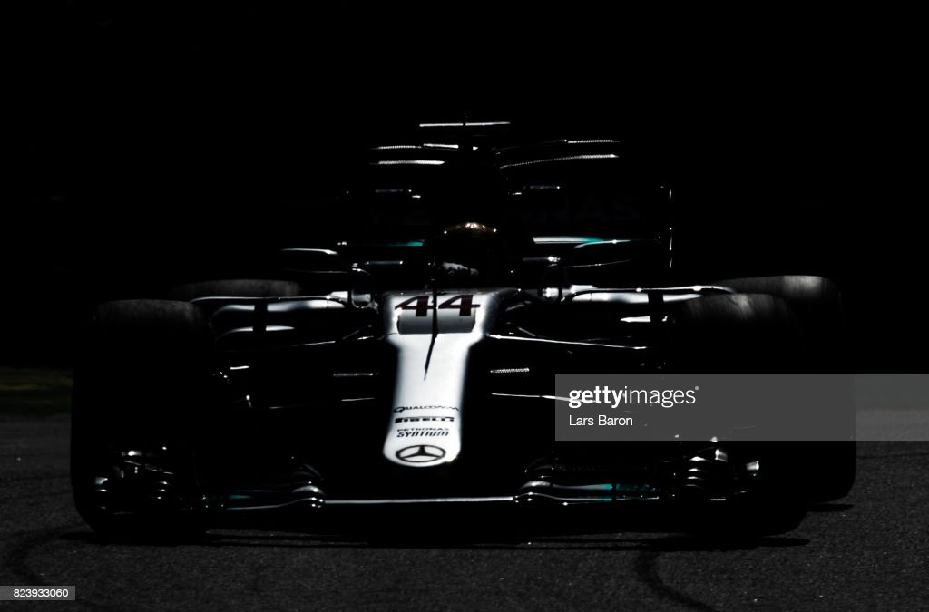 Lewis Hamilton of Great Britain driving the (44) Mercedes AMG Petronas F1 Team Mercedes F1 WO8 on track during practice for the Formula One Grand Prix of Hungary at Hungaroring on July 28, 2017 in Budapest, Hungary.
