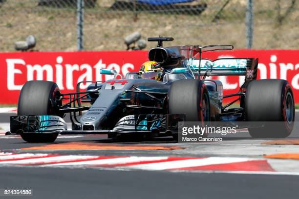 HUNGARORING BUDAPEST HUNGARY Lewis Hamilton of Great Britain driving the Mercedes AMG Petronas F1 Team Mercedes F1 WO8 on track during final practice...