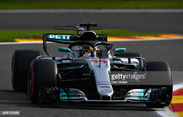 Lewis Hamilton of Great Britain driving the Mercedes AMG Petronas F1 Team Mercedes F1 WO8 fitted with the halo on track during practice for the...