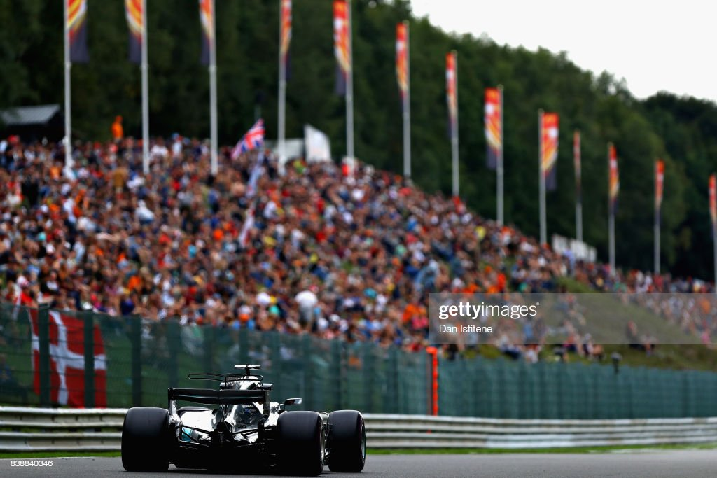 Lewis Hamilton of Great Britain driving the (44) Mercedes AMG Petronas F1 Team Mercedes F1 WO8 on track during practice for the Formula One Grand Prix of Belgium at Circuit de Spa-Francorchamps on August 25, 2017 in Spa, Belgium.