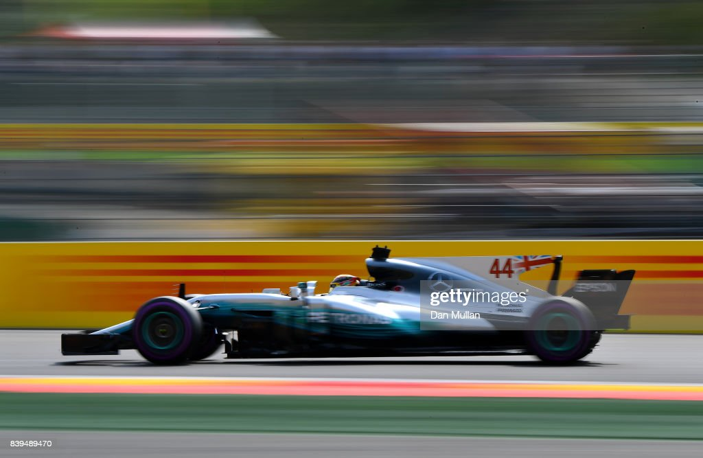 Lewis Hamilton of Great Britain driving the (44) Mercedes AMG Petronas F1 Team Mercedes F1 WO8 on track during qualifying for the Formula One Grand Prix of Belgium at Circuit de Spa-Francorchamps on August 26, 2017 in Spa, Belgium.