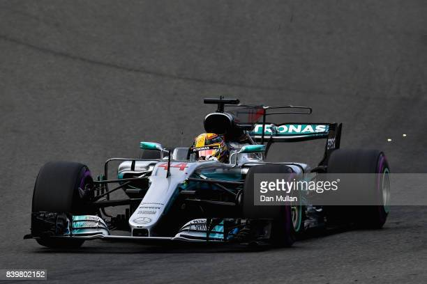 Lewis Hamilton of Great Britain driving the Mercedes AMG Petronas F1 Team Mercedes F1 WO8 on track during the Formula One Grand Prix of Belgium at...