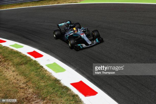 Lewis Hamilton of Great Britain driving the Mercedes AMG Petronas F1 Team Mercedes F1 WO8on track during practice for the Formula One Grand Prix of...