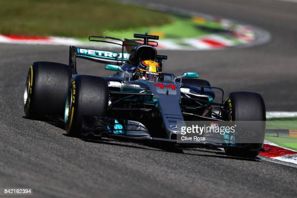 Lewis Hamilton of Great Britain driving the Mercedes AMG Petronas F1 Team Mercedes F1 WO8 on track during the Formula One Grand Prix of Italy at...