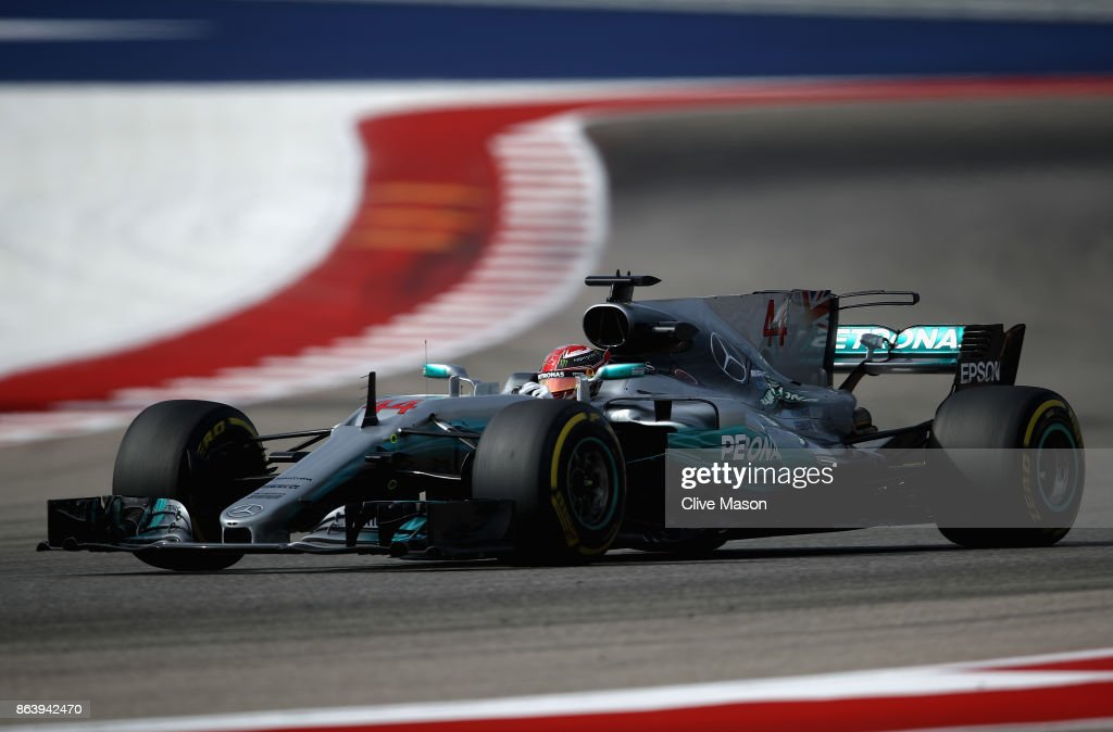 Lewis Hamilton of Great Britain driving the (44) Mercedes AMG Petronas F1 Team Mercedes F1 WO8 on track during practice for the United States Formula One Grand Prix at Circuit of The Americas on October 20, 2017 in Austin, Texas.