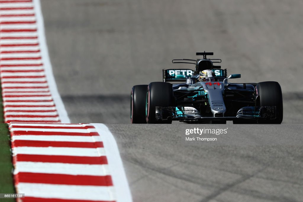 Lewis Hamilton of Great Britain driving the (44) Mercedes AMG Petronas F1 Team Mercedes F1 WO8 on track during the United States Formula One Grand Prix at Circuit of The Americas on October 22, 2017 in Austin, Texas.